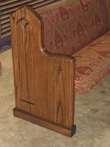 solid oak pew end